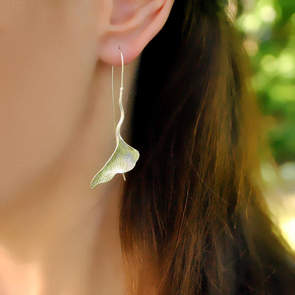 Silver Ginkgo Dangle Earrings