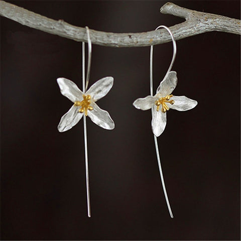 Handmade Sterling Silver Lily Hoop Drop Earrings