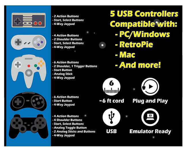 Retropie USB Controllers Set
