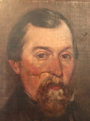 A Victorian portrait painting of a bearded gentleman