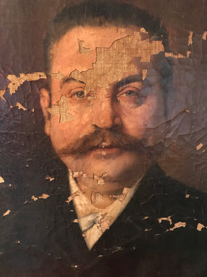 A Victorian portrait painting of a moustachioed gentleman