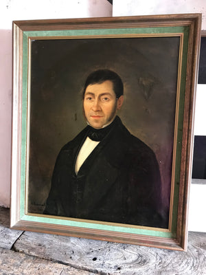 A large Victorian oil painting of a gentleman- French, signed, dated 1848