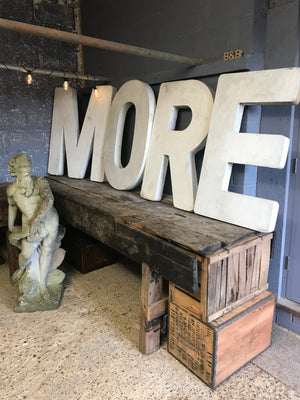 A set of extra large wooden trade sign letters MORE/ROME