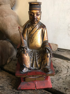 A 19th Century Chinese carved wood and gesso seated figure