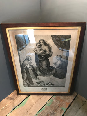 An early 1800s etching of La Madonna Di San Sisto
