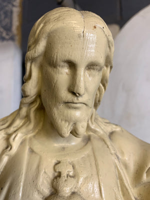 A large white chalkware statue of Jesus 66cm