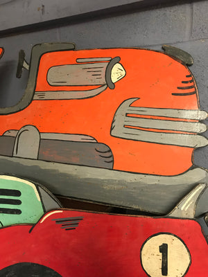 A hand painted dodgem vintage car cut out panel- orange