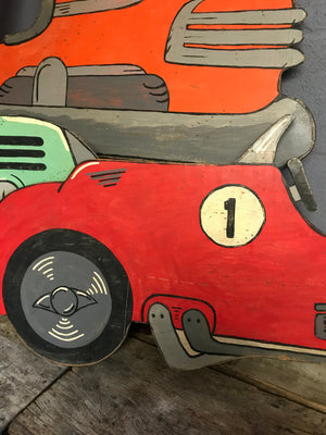 A hand painted speedway vintage racing car cut out panel- red