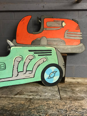 A hand painted speedway vintage racing car cut out panel- green
