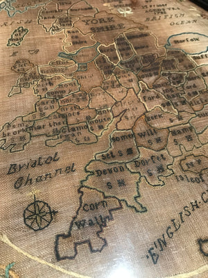 An 18th Century sampler map of England and Wales dated 1782