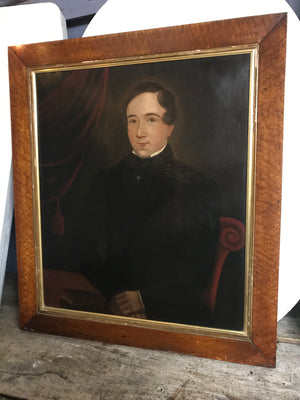 A large Victorian oil on canvas painting of a seated gentleman