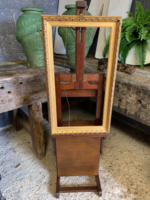 A rare and unusual small oak adjustable easel