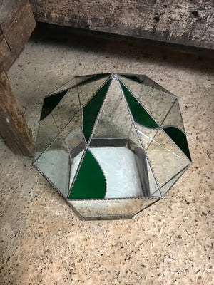 A very large leaded and stained glass terrarium