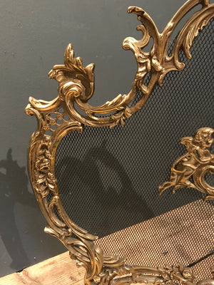 A Rococo style ornate brass and mesh firescreen