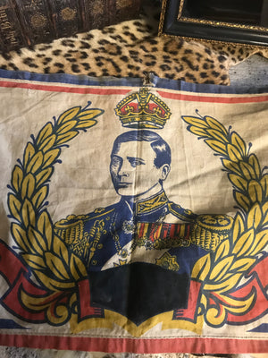 "A 9ft George VI  Coronation Banner: ""God Bless Our King"""
