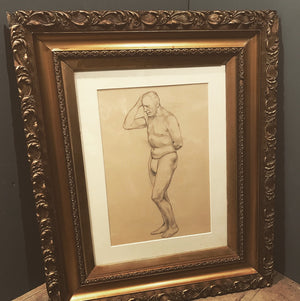 A Margaret Maitland Howard male nude pencil drawing