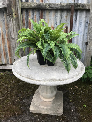 A French cast stone round top pedestal garden table by Grandon Fres