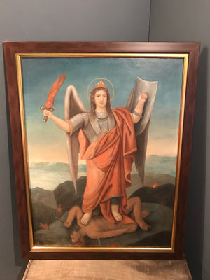 A 19th Century oil on canvas painting of Archangel Michael and Lucifer