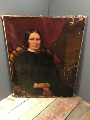 A large Victorian oil on canvas painting of a seated lady
