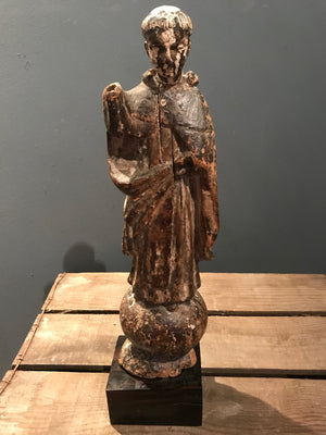A large polychrome wooden Santos figure of St Anthony