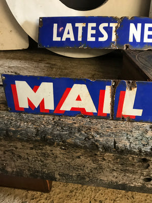 A rare pair of original Daily Mail Newspaper enamel advertising signs