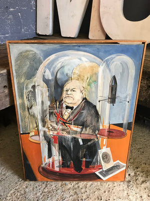 A signed modernist oil on canvas painting of Sir Winston Churchill