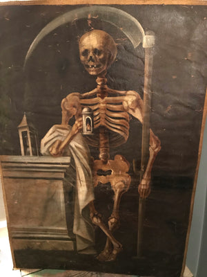 A 19th Century Italian Memento Mori skeleton vanitas oil painting