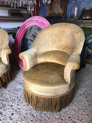 A pair of gold velvet Louis Philippe chateau or country house chairs