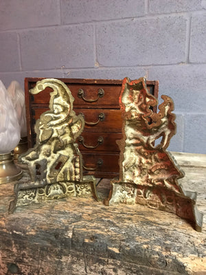 A Victorian pair of Punch and Judy brass doorstops
