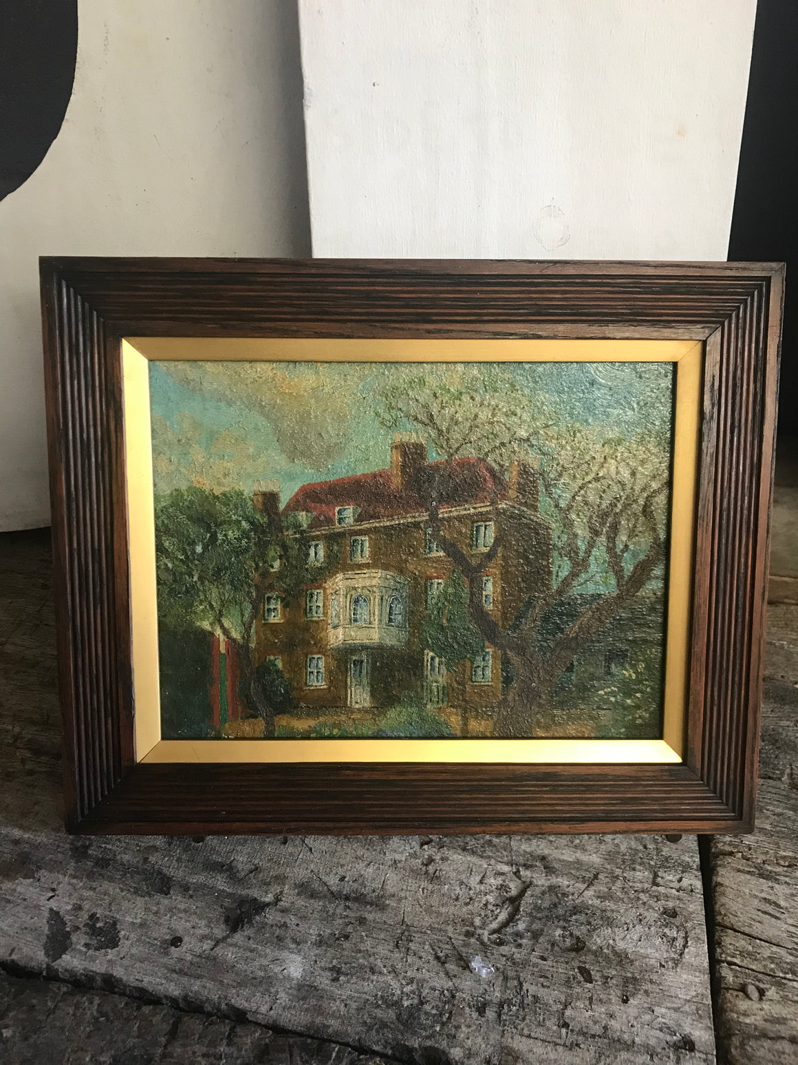 William Hogarth: An Arts and Crafts architectural country house oil painting
