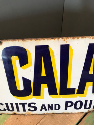 An Enamel Old Calabar Dog Poultry Food Advertising Sign