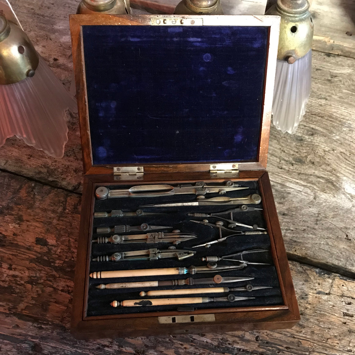 A 19th Century Chadburn & Son technical drawing instrument set- cased