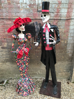 A pair of Mexican Day of The Dead life size papier-mache figures- over 5 ft