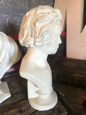 A large 19th Century bust of Beethoven in white plaster