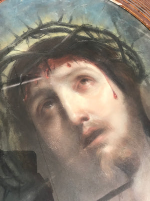 A religious chalk drawing of Jesus Christ after Guido Reni Ecce Homo