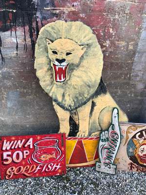 A hand painted 'ringmaster' circus lion fairground panel