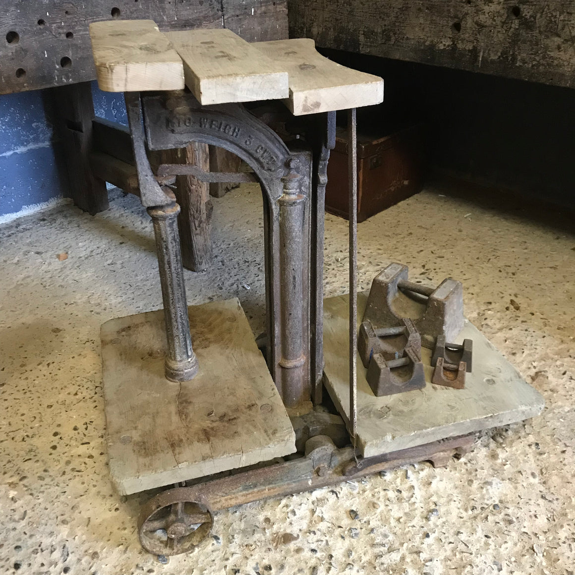 A set of W & T Avery cast iron and wood potato weighing scales