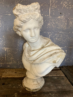 A very large cast stone Apollo Belvedere bust