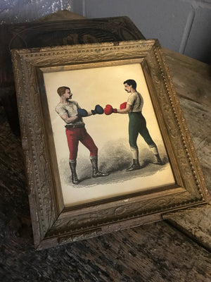 A contemporary bare knuckle boxing print in a 19th Century frame
