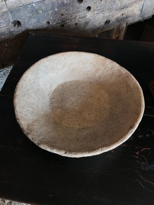 A pair of handmade rough hewn marble bowls
