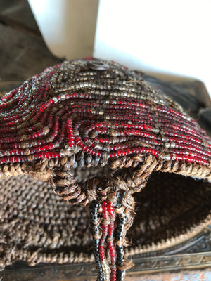 An African glass bead woven cone hat from Zaire
