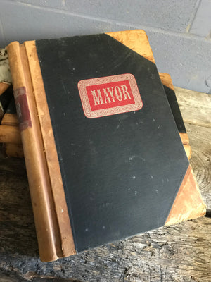 A very large antiquarian leather bound Mayor Spanish ledger book