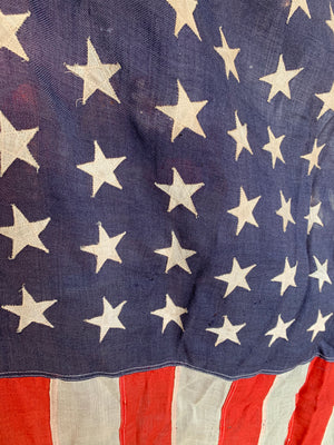 A hand stitched fabric 48 Star Stars and Stripes flag