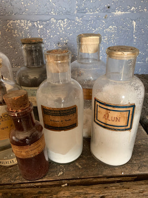 A set of French apothecary jars with their original labels