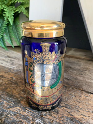 A cobalt blue glass myrrh apothecary jar by the Royal Pharmaceutical Society