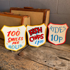 A hand painted fairground advertising sign - Fish and Chips