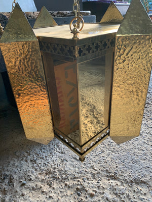 A large Gothic Revival brass pendant lantern