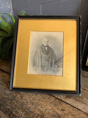 A 19th Century framed and signed pencil portrait of a gentleman