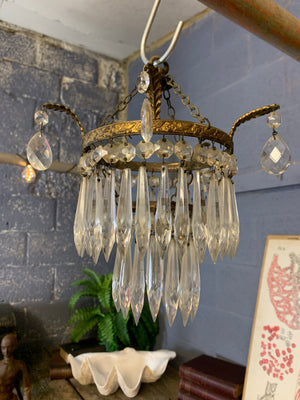 A petite gilt two tier crystal icicle droplet chandelier ~1