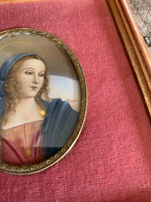A signed 19th Century miniature painting of Perugino's Madonna
